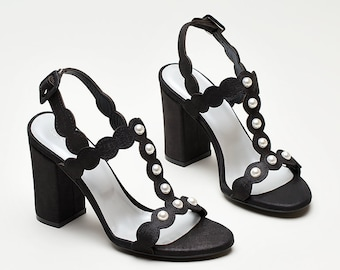 Women High Heel Black Sandals/ Genuine Leather Sandals with Pearls/ Real Leather Heels Bianki SS'18