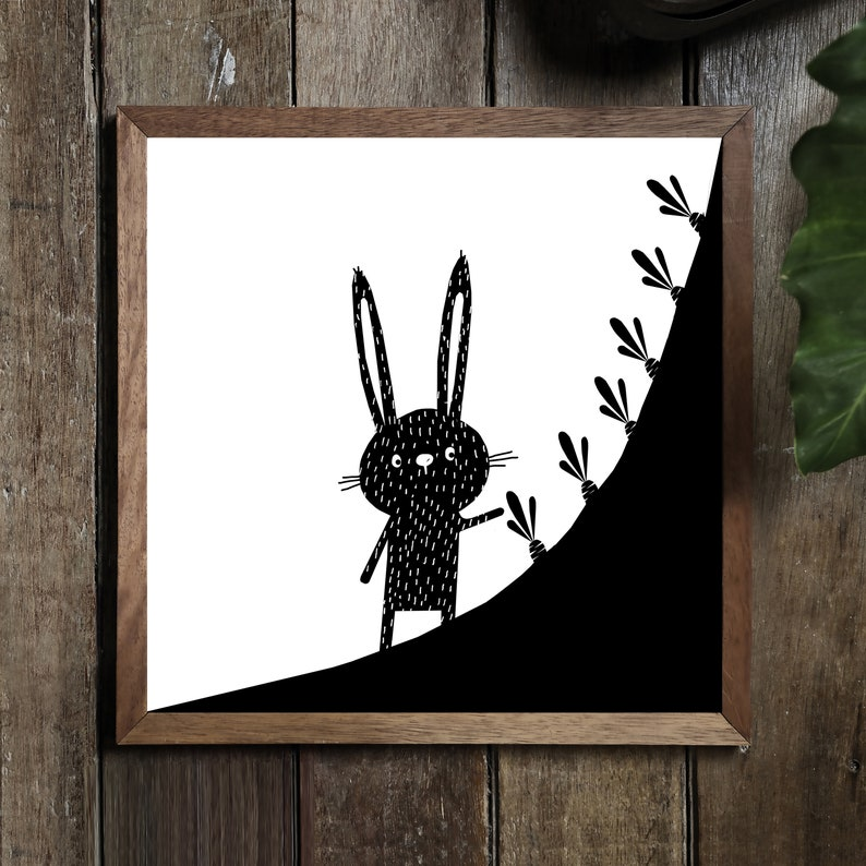 Black And White Rabbit W Carrots Drawing Print Bunny Animals Etsy