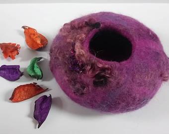 Felted bowl - embellished - purple