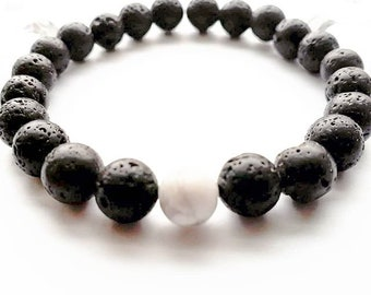 Lava Bracelet with Howlite | Natural Aromatherapy Diffuser | Therapeutic Bracelet