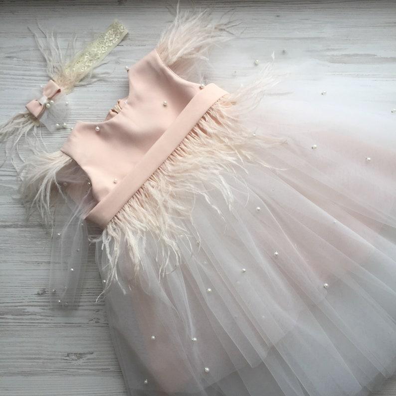 First birthday dress Baptism dress Christening dress Dress with headband.Flower girl dress.Dress with bow Dress for girl Dress for baby