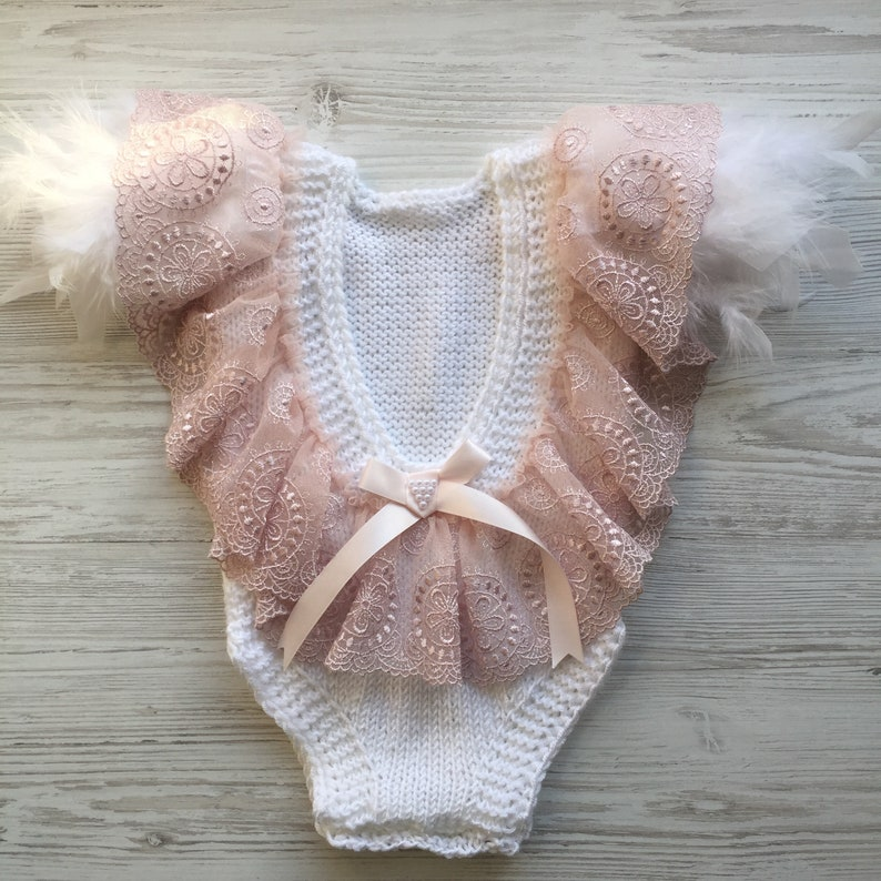 headband and booties First birthday outfit for girl. Knit clothing set for baby girl Knit romper Baptism gown for girl