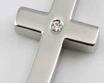 Cross With Pink Center Stone Cremation Pendant Chain Sold Separately