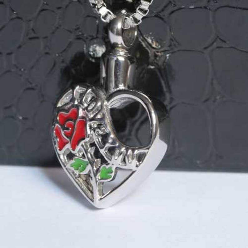 Chain Sold Separately I Love You Heart With Red Rose Cremation Pendant