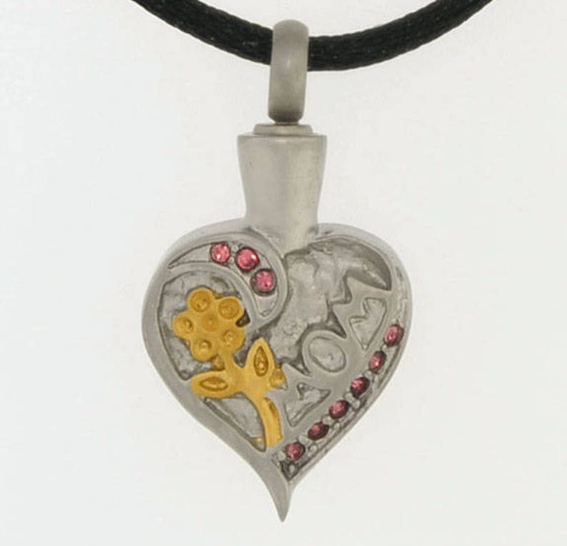 Chain Sold Separately Mom Heart With Gold Flower and Pink Stones Cremation Pendant