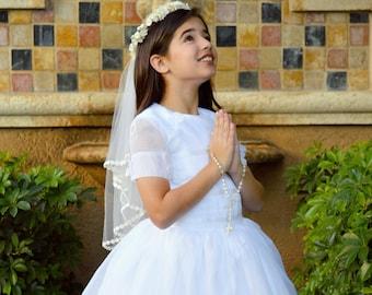White Silk Organdy First Holy Communion Dress