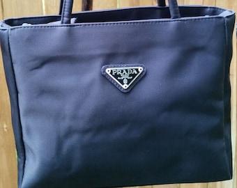 PRADA Black Nylon Tessuto Double Handle Shoulder Bag eca9ec99a2d07