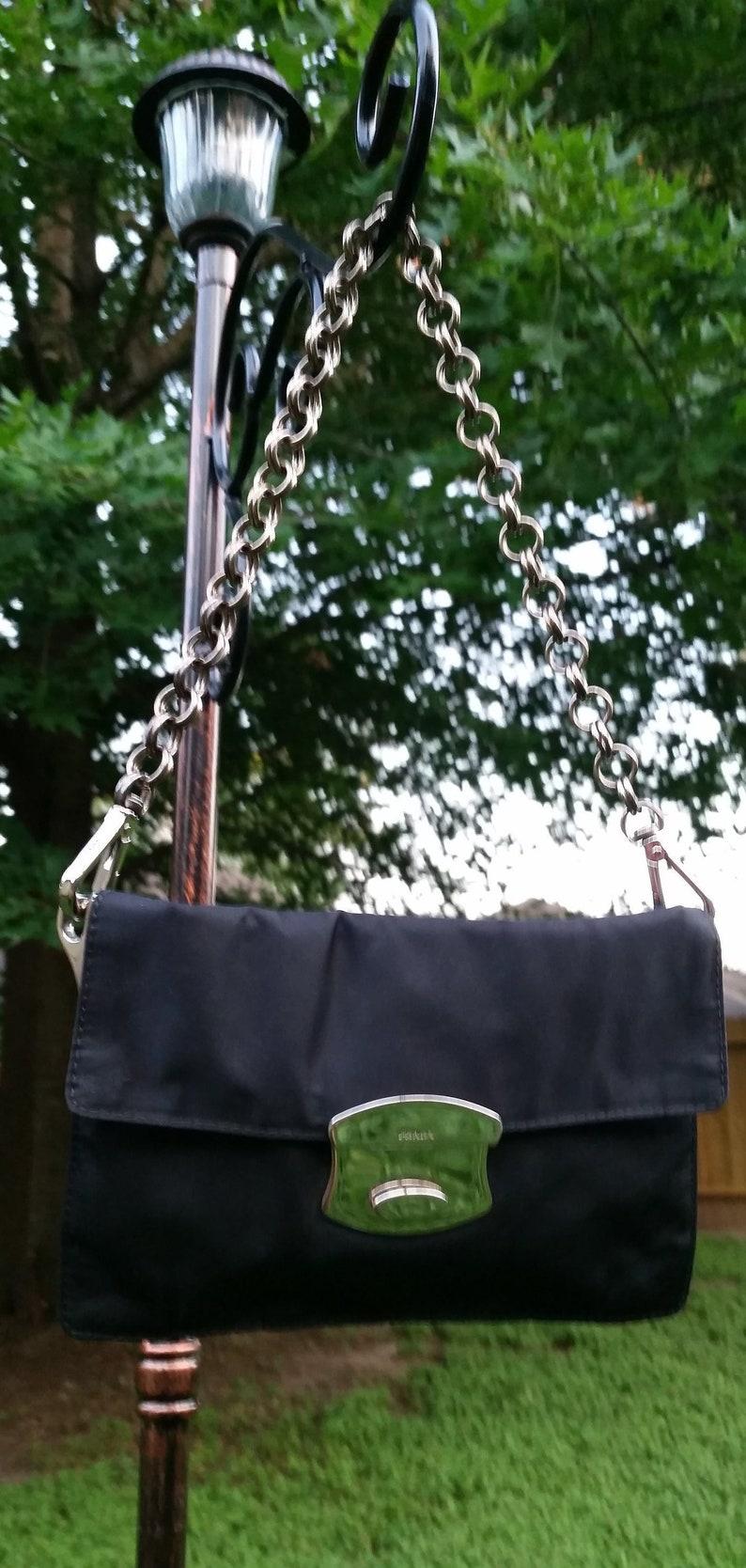 ca494d0e3059 Authentic PRADA Black Nylon Tessuto Chain-Link Bag Vintage | Etsy