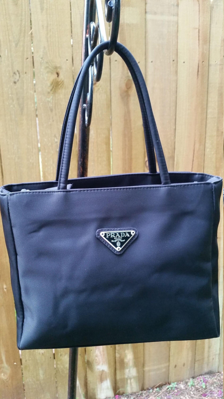 7c057817c984 PRADA Black Nylon Tessuto Double Handle Shoulder Bag Vintage | Etsy