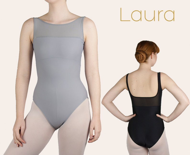 LAURA boat neck mesh leotard  By Aurelia Dancewear image 0