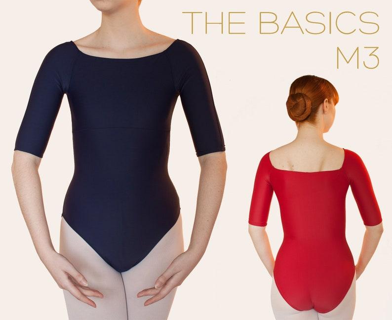 M3 Ballet Leotard 1/2 Sleeve Square Neck  THE BASICS by image 0