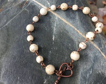 Copper and Agate Bracelet with Heart Toggle