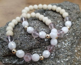 Magnesite, 14Kt gold-filled, Pink ice flake quartz, Czech glass Stacking 3-Pc. Set, Gemstone Beaded Bracelet