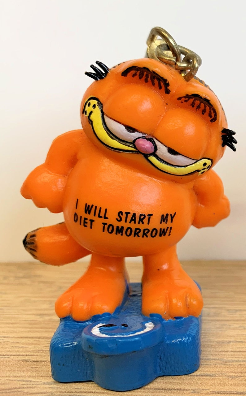 United Feature Syndicates Inc West Germany Two Vintage Retro 1981 Bully Garfield 2.5 Keyring Keychain  Figures Retro Toy Cartoon Cat