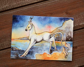 Unicorn postcard (Sunset)   Fantasy