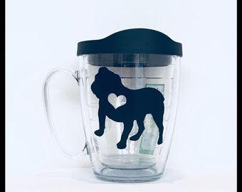 Great Mother's Day Gift Custom English Bulldog on Tervis 16oz. Mug with coordinating lid..Free Coordinating Notepad