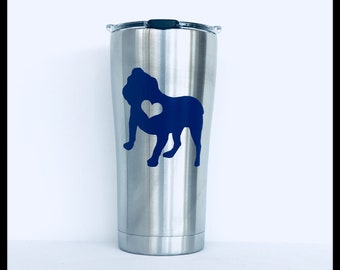 Great Mother's Day Gift Custom English Bulldog on Tervis 20oz. Stainless Tumbler..Free Coordinating Notepad