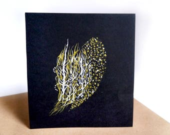 Fine art drawing white and gold ink, pen and ink drawing, white ink on black paper, wall art decor, trees figures original art work