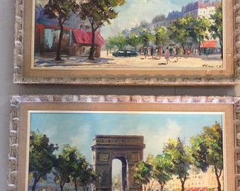 France Paris two scenery oil paintings Arc De Triomphe The Champs Elysees street