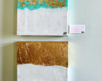 PAIR of Gold & Teal Abstract Paintings