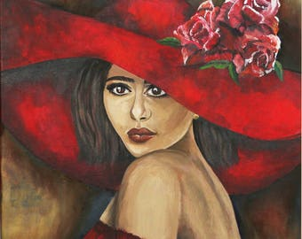 Red Woman', Impressionist Painting on Gallery-Wrapped Canvas, Original Artwork, Size 16x20