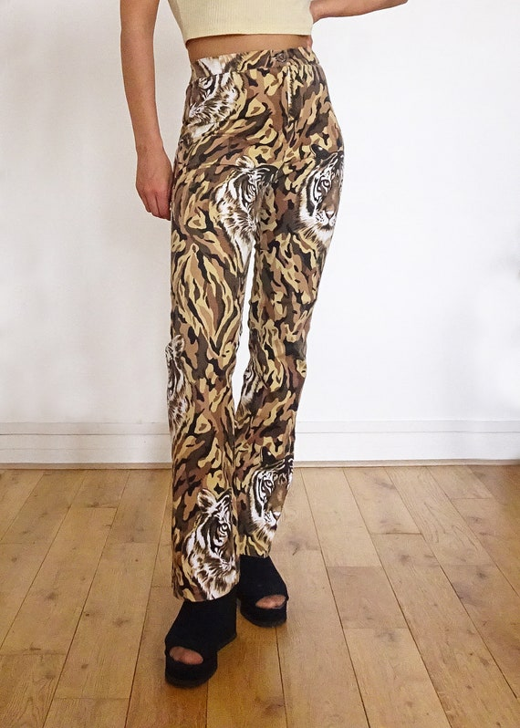 "90's // Pants printed "" tiger "" high waist made i… - image 6"