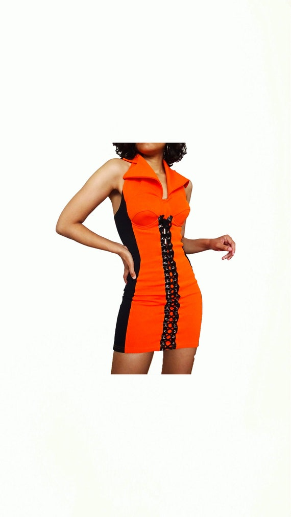 Sexy orange dress with vintage laces // 90s