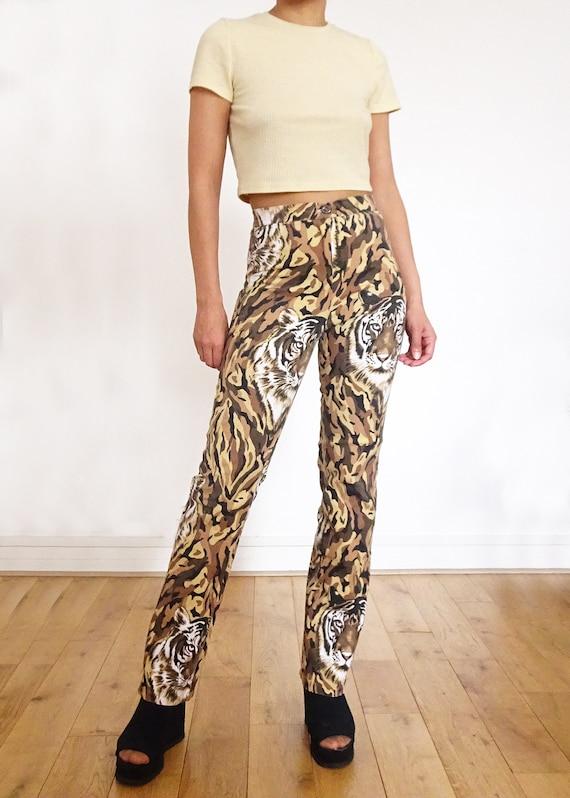 "90's // Pants printed "" tiger "" high waist made i… - image 3"
