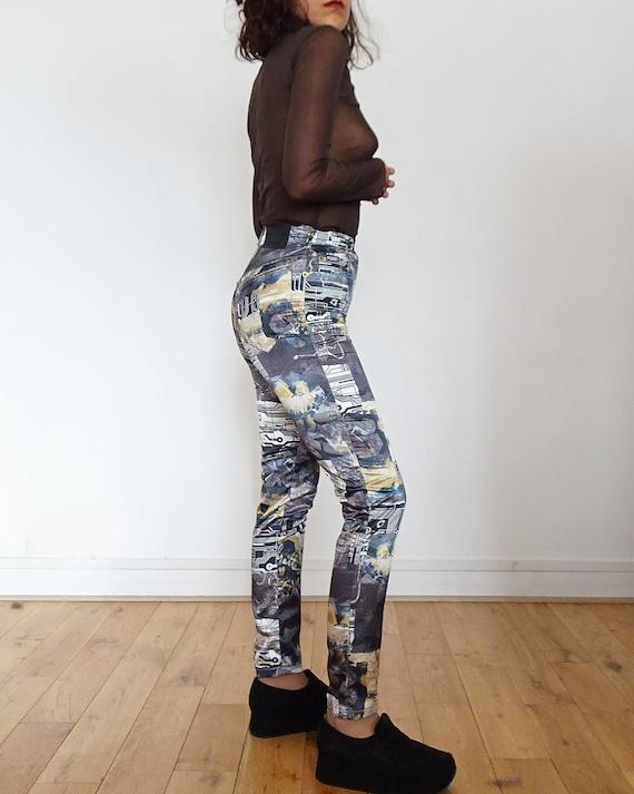 90's // Tark'1 satin pants printed cyber vintage - image 3
