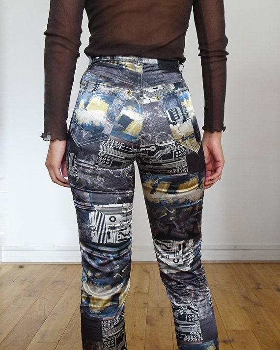 90's // Tark'1 satin pants printed cyber vintage - image 5