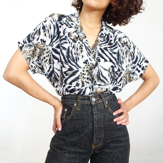 70s/80s tiger print shirt // Made in France