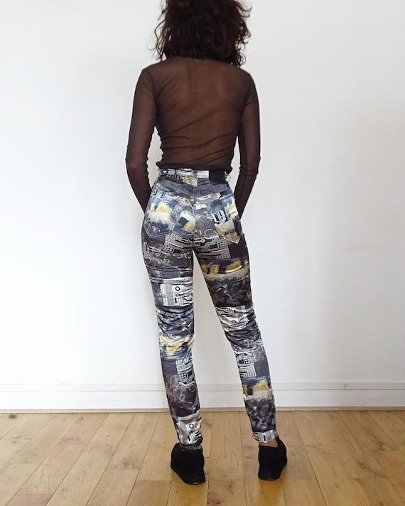 90's // Tark'1 satin pants printed cyber vintage - image 4