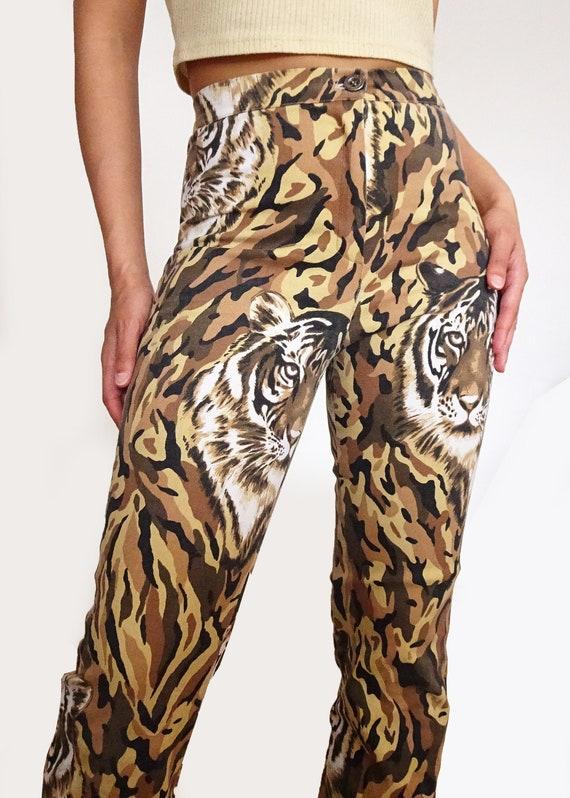 "90's // Pants printed "" tiger "" high waist made i… - image 1"