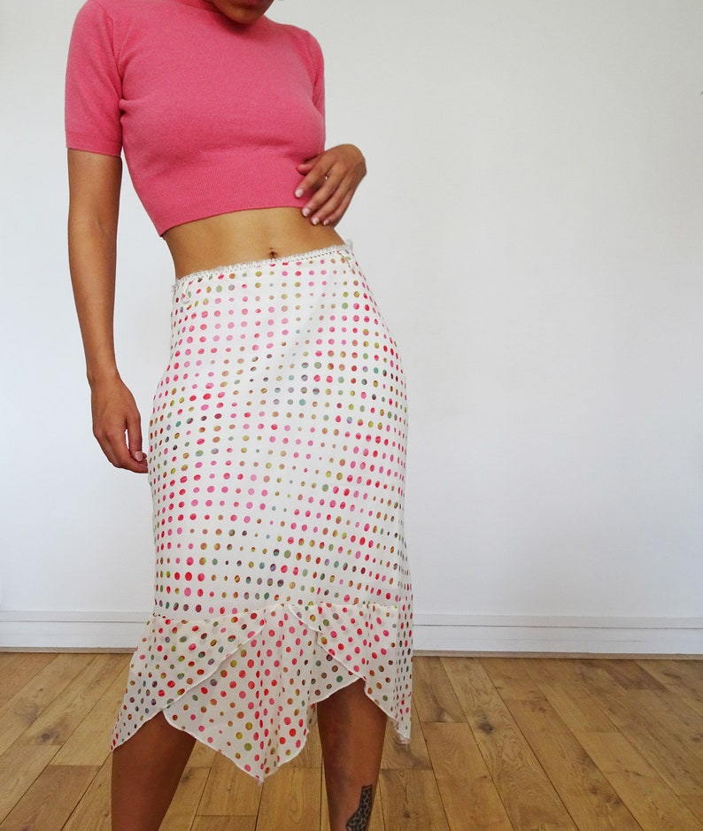 Vintage asymmetric asymmetric polka dot skirt  00s