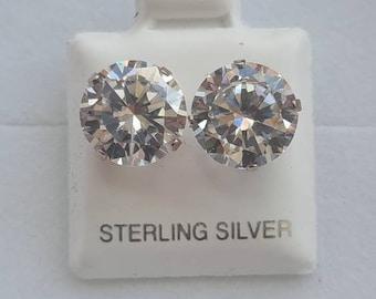 10mm Sterling silver CZ Stud Earrings