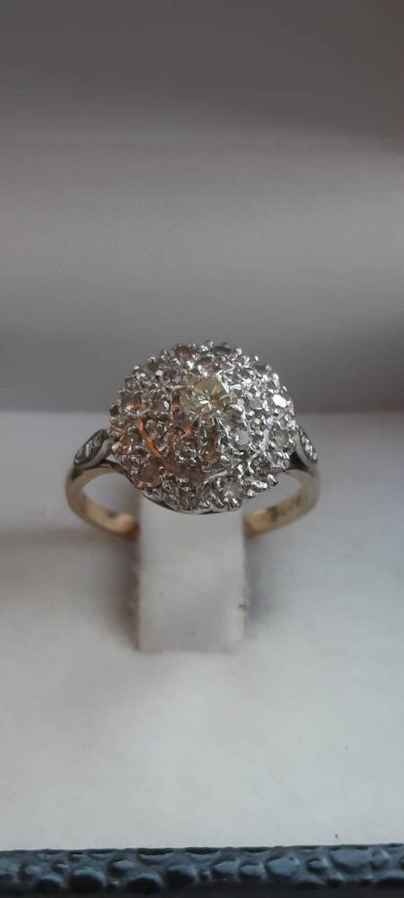 Vintage 1960s 18ct Gold Diamond Cocktail ring - image 2