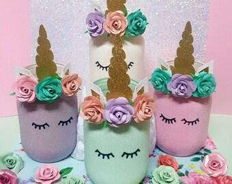 Unicorn Mason Jar Party Decor Glitter Pastel Home Pencil Holder Jars