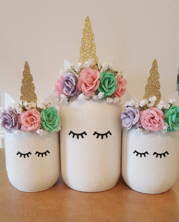 Unicorn Mason Jar Centerpiece
