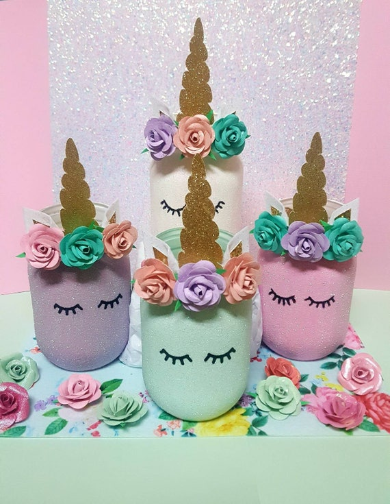 Unicorn Mason Jar Unicorn Party Decor Unicorn Decor