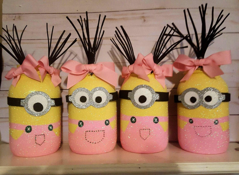 Minion Room Decor Girl Minion Mason Jar Centerpieces Minion Party Decor