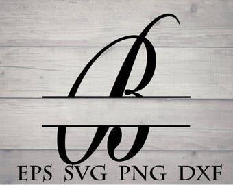 Split letter monogram svg / split initial B svg - monogram split letter svg, split monogram alphabet svg,monogram cricut file, cricut vinyl