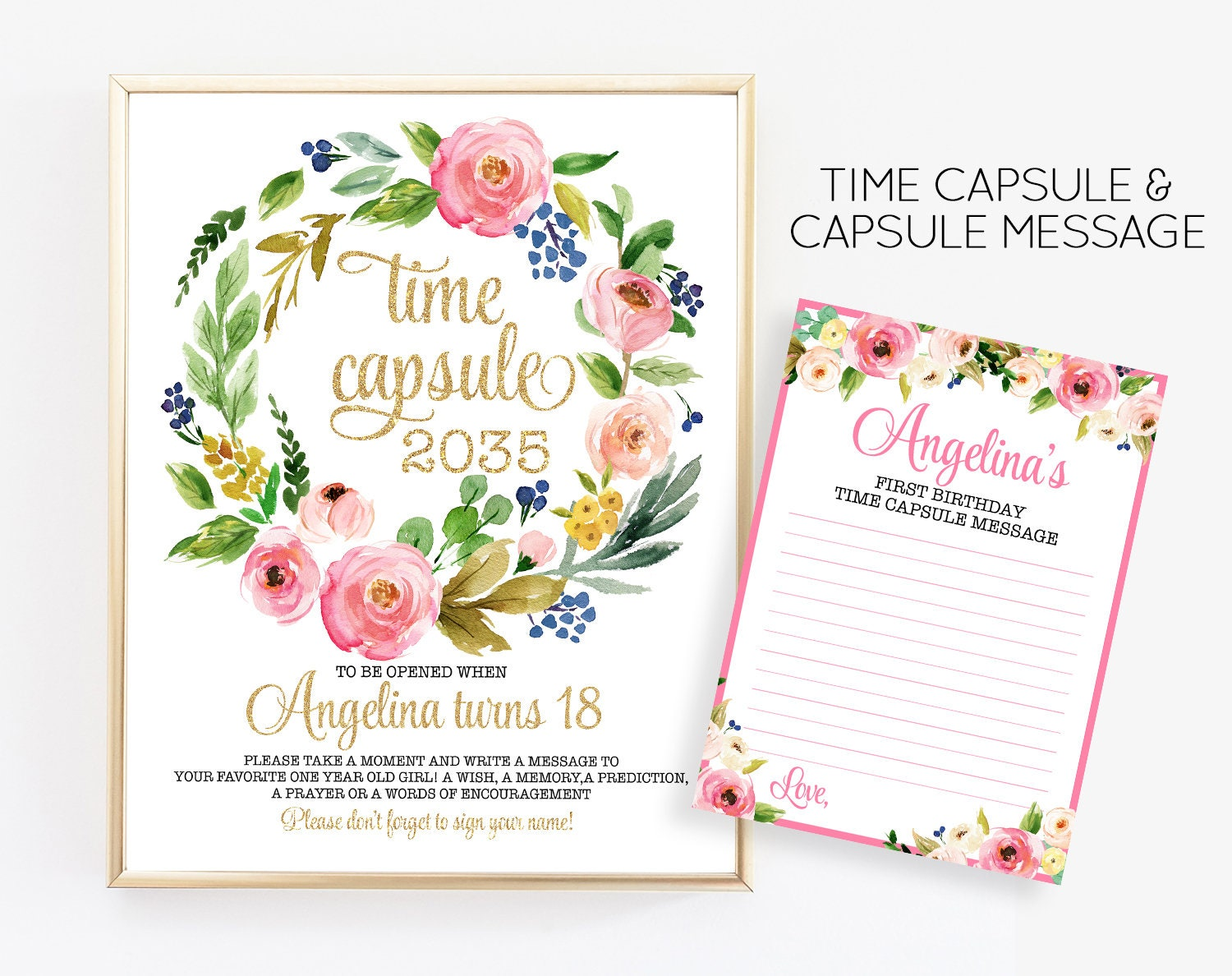 First Birthday Floral Time Capsule Girl First Birthday Time Etsy