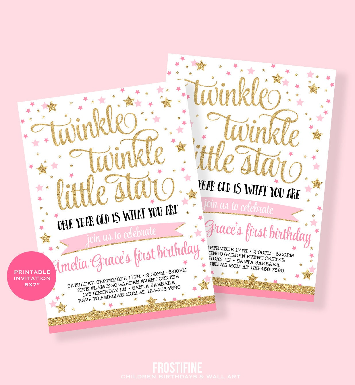 Twinkle twinkle little star first birthday invitation Pink | Etsy