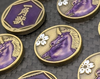L5R Fate Solid Metal - Unicorn Surging Spirit - Unofficial Fate/Honor Tokens