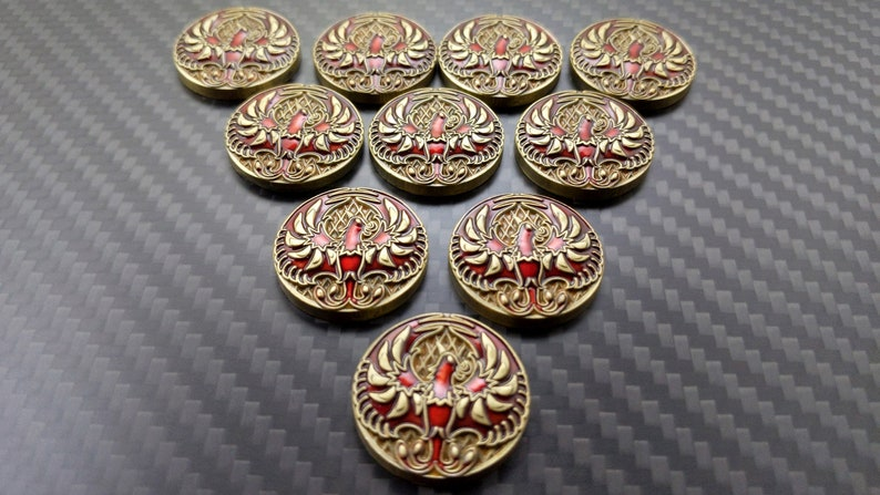 L5R Phoenix Metal Fate  Reignited and Scholar  Luxury Tokens Antiqued - Scholar