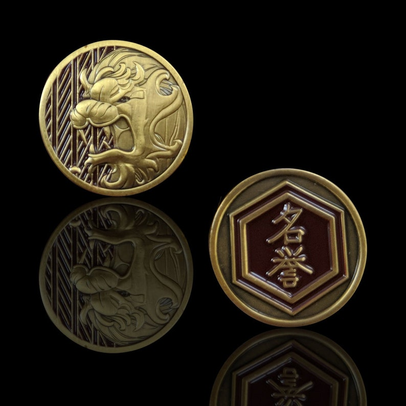 L5R Metal Lion Fate & Honor Token  Unofficial Gamepieces for image 0