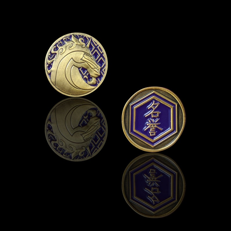 L5R Metal Unicorn Fate Luxury Tokens Unofficial FateHonor Token for Legend of the Five Rings LCG