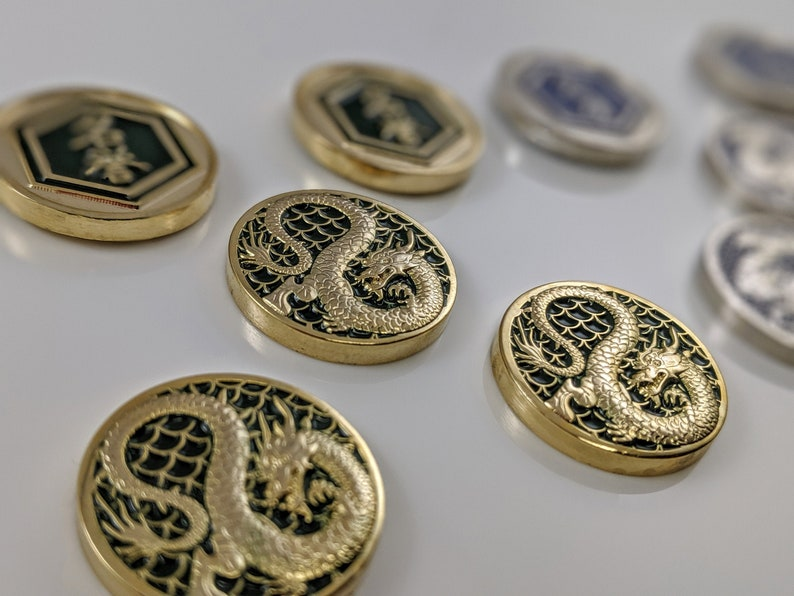 L5R Metal Fate: Dragon Luxury Tokens  Unofficial Fate/Honor Shiny Gold