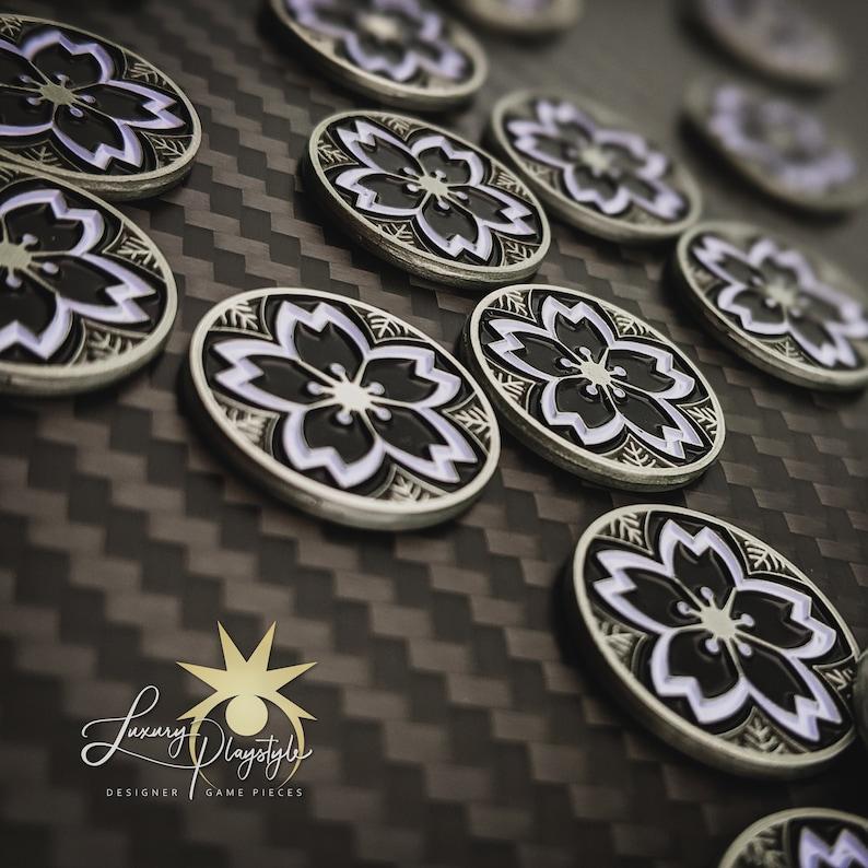 L5R Metal Yozakura Night Blossom Tokens  Unofficial L5R LCG Black Flower- Silver