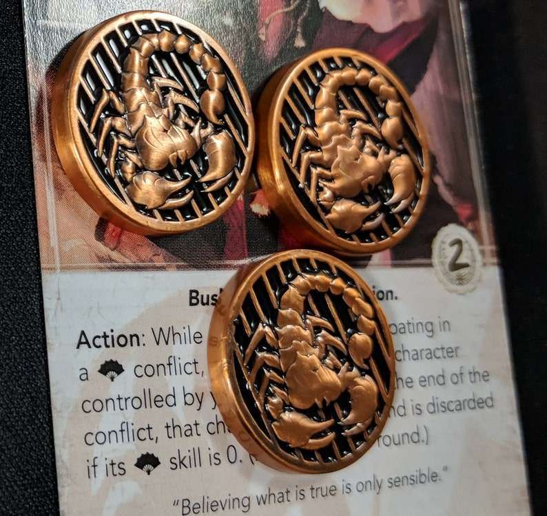 L5R Metal Fate: Scorpion Luxury Fate and Honor Token  image 0